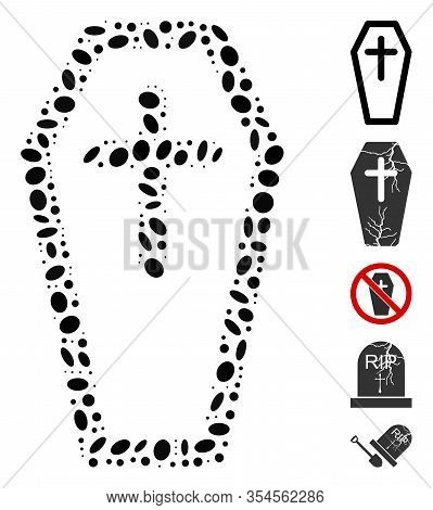 Dot Mosaic Based On Christian Coffin. Mosaic Vector Christian Coffin Is Created With Random Ellipse