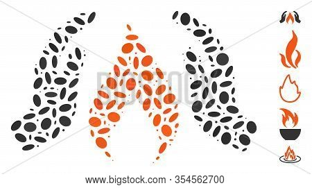 Dotted Mosaic Based On Warm Up Hands. Mosaic Vector Warm Up Hands Is Created With Randomized Ellipti