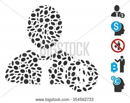 Dotted Mosaic Based On Banker. Mosaic Vector Banker Is Composed With Scattered Elliptic Items. Bonus