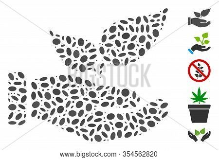 Dot Mosaic Based On Organic Supplement Hand. Mosaic Vector Organic Supplement Hand Is Formed With Ra