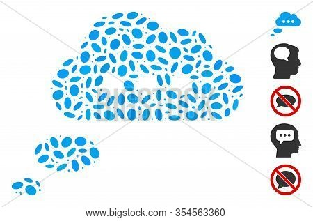 Dotted Mosaic Based On Opinion Cloud. Mosaic Vector Opinion Cloud Is Created With Randomized Ellipse