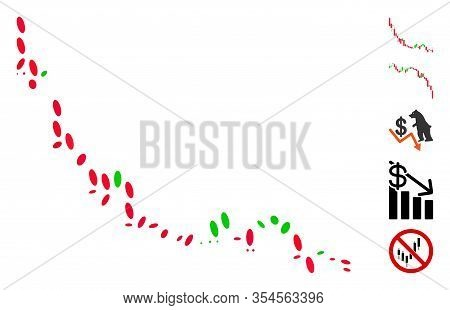 Dotted Mosaic Based On Candlestick Chart Falling Slowdown. Mosaic Vector Candlestick Chart Falling S