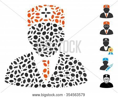 Dot Mosaic Based On Head Physician. Mosaic Vector Head Physician Is Created With Random Oval Spots.