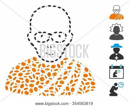 Dotted Mosaic Based On Buddhist Monk. Mosaic Vector Buddhist Monk Is Created With Randomized Ellipti
