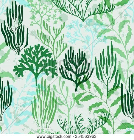 Coral Reef Seamless Pattern. Kelp Laminaria Seaweed Algae Background. Red Sea Coral Reef Branches An