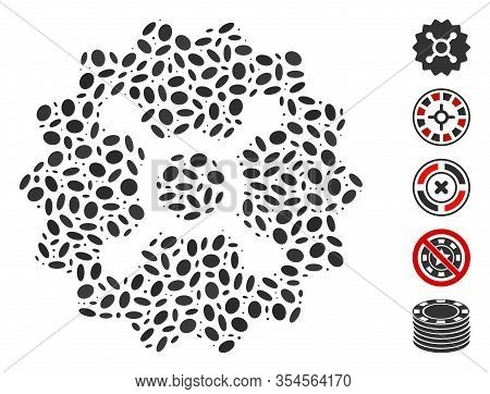 Dot Mosaic Based On Roulette Token. Mosaic Vector Roulette Token Is Created With Randomized Ellipse