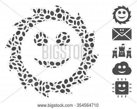 Dot Mosaic Based On Circular Blade Smile. Mosaic Vector Circular Blade Smile Is Created With Random