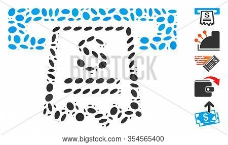 Dot Mosaic Based On Cashier Receipt. Mosaic Vector Cashier Receipt Is Created With Randomized Ellips