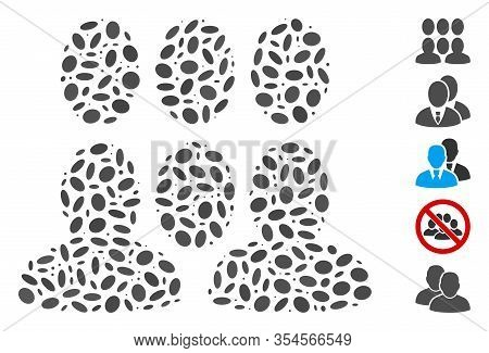 Dotted Mosaic Based On Auditory. Mosaic Vector Auditory Is Formed With Random Oval Spots. Bonus Icon