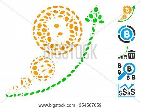 Dot Mosaic Based On Bitcoin Inflation Trend. Mosaic Vector Bitcoin Inflation Trend Is Designed With