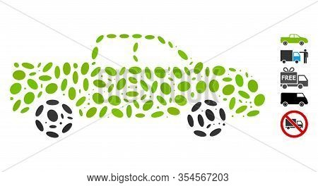 Dotted Mosaic Based On Pickup. Mosaic Vector Pickup Is Created With Random Elliptic Dots. Bonus Icon