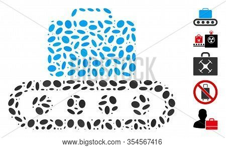 Dotted Mosaic Based On Baggage Conveyor. Mosaic Vector Baggage Conveyor Is Created With Randomized O