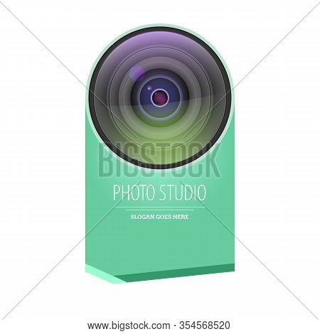 Photo Studio Logo And Business Card Template. Realistic Lens Camera With Graphic Element, Template F