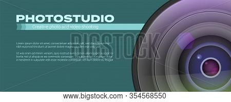 Photo Studio Logo And Business Card Template. Realistic Lens Camera With Place For Text. Photo Studi