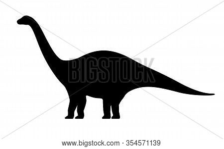 Apatosaurus Silhouette. Vector Illustration Black Silhouette Of A Apatosaurus Dinosaur Isolated On A