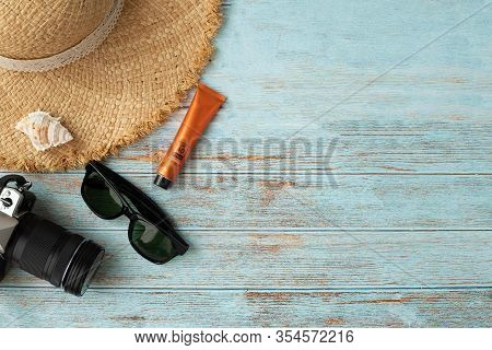 Traveller Accessories In Summer On Wood Table.