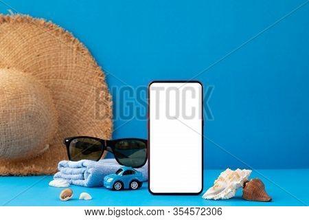 Traveller Accessories In Summer Season On Blue Background.