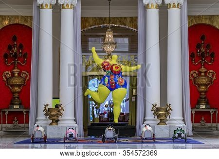 Nice France - May 27, 2017: Extravagant Ornate Decor Of The Grand Salon Royal Lounge With Collectibl