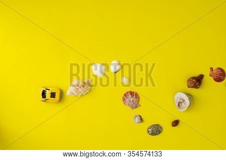 Concept Of Travel In Summer On Yellow Background.