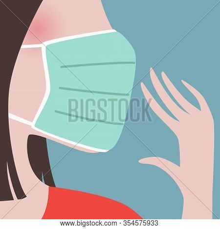 Closeup Of Woman Wearing Green Protective Face Mask.epidemic Disease Concept.virus Spreading Protect