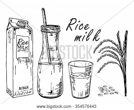Rice Milk. Vegetable Milk Sketch. Rice Milk In A Bag, In A Bottle, In A Glass. Spikes And Rice. Morn