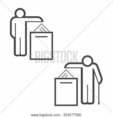 Voting In Elections. Young Voter And Old Voter. Infographics Of Voting By Age. Ballot Boxe Vector Ic