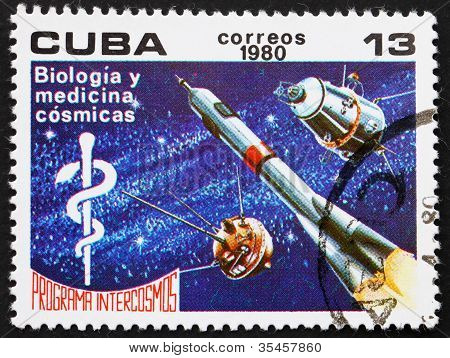 Postage stamp Cuba 1980 Biology and Medicine, Intercosmos