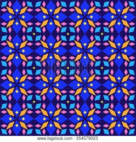 Kaleidoscope, Seamless Pattern, Geometric, Blue, Vector. Geometric Pattern. Multicolored, Flat Vecto