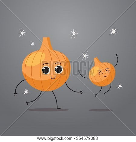 Cute Fresh Onion Characters Couple Tasty Cartoon Mascot Vegetable Personages Healthy Food Concept Ve