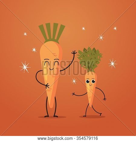Cute Carrot Characters Couple Funny Cartoon Mascot Vegetable Personages Healthy Food Concept Vector