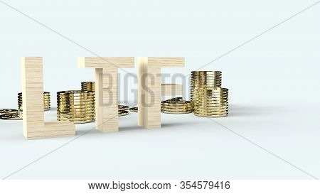 The Wood Text Ltf And Gold Coins 3d Rendering For Business Content.