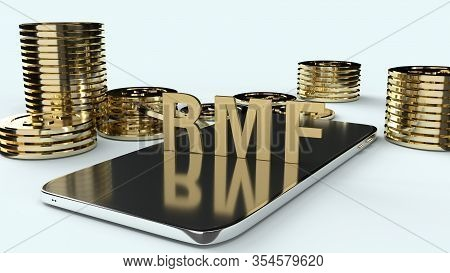 The  Rmf  On Mobile And  Gold Coins 3d Rendering For Business Content.