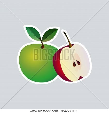 Fresh Juicy Apple Icon Tasty Ripe Fruits Sticker Healthy Food Concept Vector Illustration