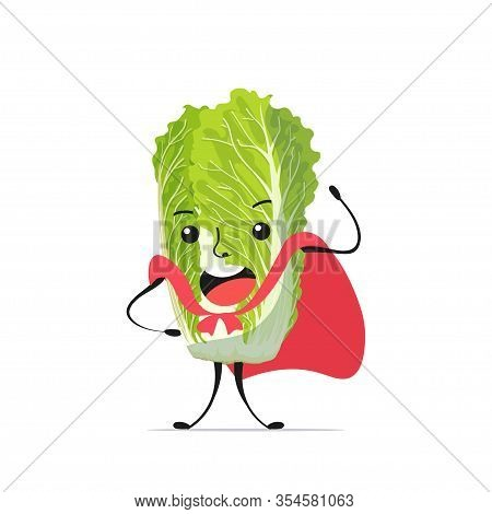 Cute Fresh Green Chinese Cabbage Character Tasty Mascot Vegetable Personage In Red Hero Cape Healthy