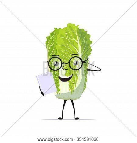 Cute Fresh Green Chinese Cabbage Character In Glasses Reading Book Tasty Mascot Vegetable Personage