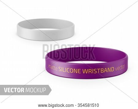 White Glossy Silicone Wristband. Photo-realistic Packaging Mockup Template With Sample Design. Vecto