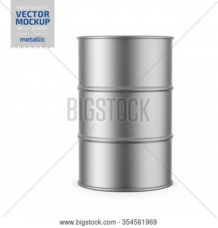 Gray Metallic 200 L Metal Barrel. Container For Liquid Chemical Products - Oil, Fuel, Gasoline. Phot