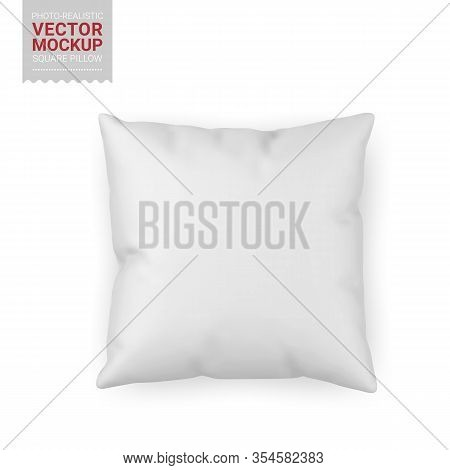 Blank White Square Textile Pillow. Photo-realistic Object Mockup Template. Vector 3d Illustration.