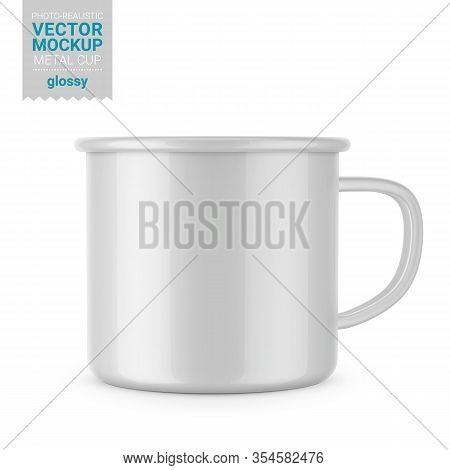 Glossy White Enamel Metal Cup. Photo-realistic Packaging Mockup Template. Front View. Vector 3d Illu