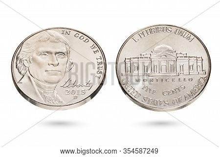 Both Sides Of Five Us Cent Or Nickel Coin Isolated On White Background