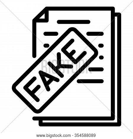 Fake Vote Politics Icon. Outline Fake Vote Politics Vector Icon For Web Design Isolated On White Bac
