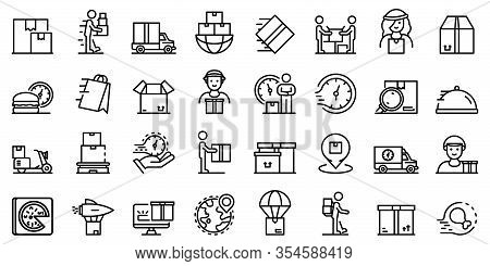 Courier Icons Set. Outline Set Of Courier Vector Icons For Web Design Isolated On White Background