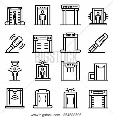 Metal Detector Icons Set. Outline Set Of Metal Detector Vector Icons For Web Design Isolated On Whit