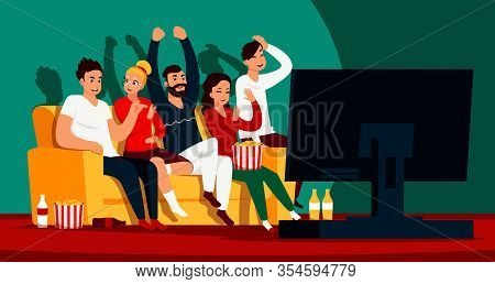 Friends Watching Tv. Cartoon Happy Characters Sitting On Sofa And Watching Movie Or Show On Streamin