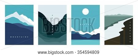 Mountain Abstract Poster. Geometric Landscape Banners With Hills, Rivers And Lakes, Minimalist Natur