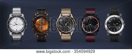 Realistic Wrist Watches. 3d Classic And Modern Business Watches With Chronograph, Metal And Leather