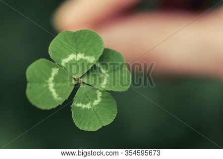 Holding a lucky four leaf clover, good luck shamrock, or lucky charm.