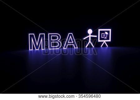 Mba Neon Concept Self Illumination Background 3d Illustration