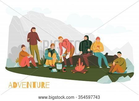 Mountain Hiking Tours Adventures Flat Composition With Mountaineers Making Halt In Foothills Startin