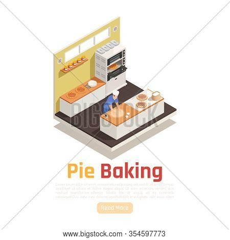 Bakery Confectionery Facility Isometric Workplace Serving Counter View With Dough Rolling For Pies P